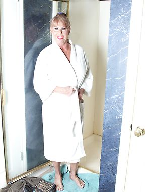 Mature lady in bathroom