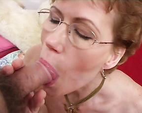 Mature with glasses sucks dick before anal sex