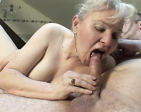 Naked granny gets really wild on a young dick