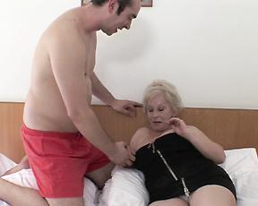 Granny gets fucked in both holes by the horny nephew