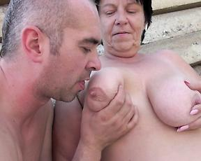 Fat granny gets pussy fucked at the farm