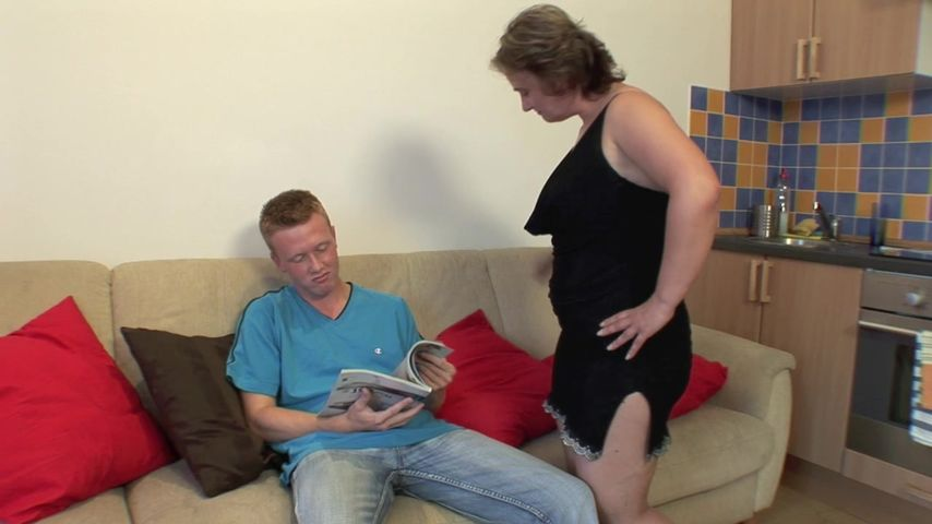 Busty mature mom goes wild on her step son's dick