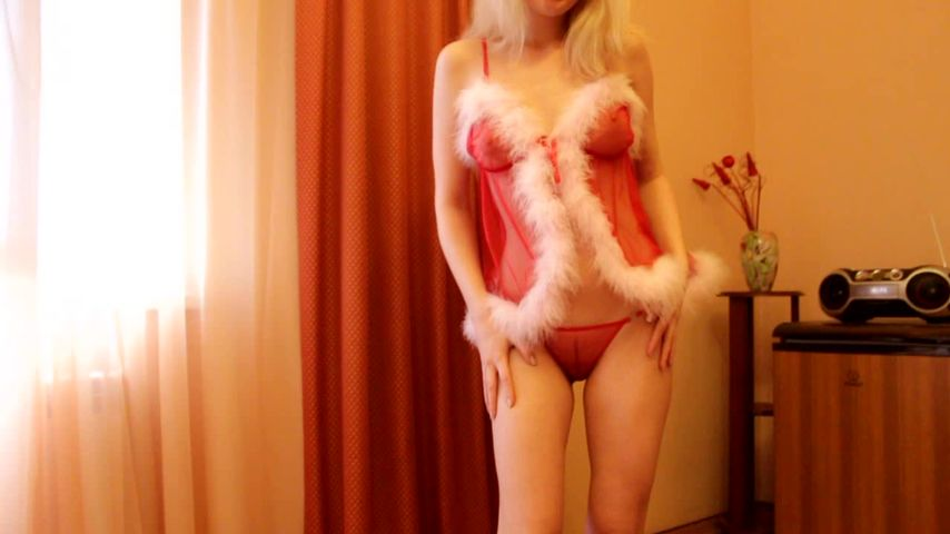 Sensual blonde beauty provides Christmas special