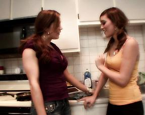 Sexual fantasy in the kitchen for two nakesd lezzie babes