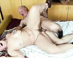 Old lady deals hubby's cock in really kinky modes
