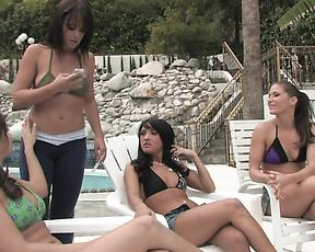 Oral sex by the pool with a group of lesbians