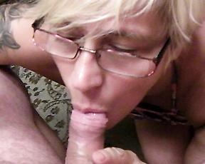 Granny smokes and sucks cock like a whore