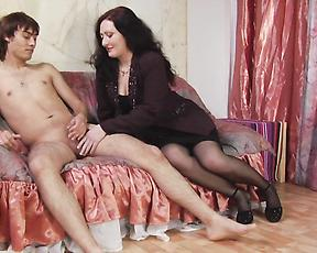 Milf butt fucks her lover with a serious strapon toy