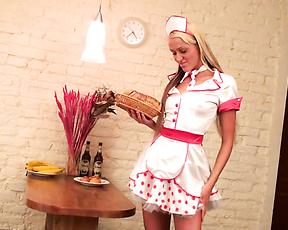 Teen in maid uniform, insane solo play at home