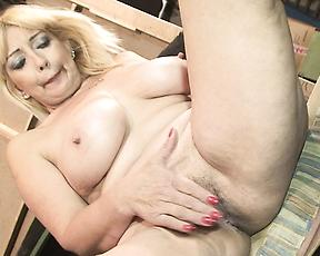 Blonde mature can't get enough of this massive cock