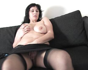 Big booty brunette mom, fantasy dildo fun in solo
