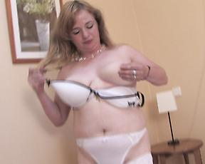 Chubby milf rubs pussy hard until she cums