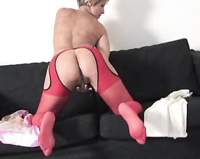Mature in red stockings, slutty solo home display
