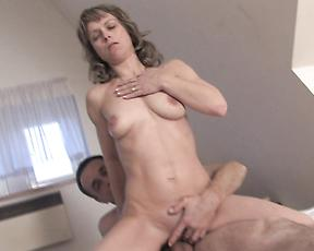 Skinny mature gets a big dick in her furry cunt