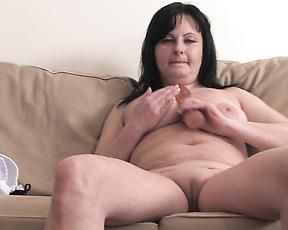 Chubby mature with big tits, smashing nude home solo