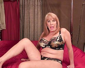 Premium mature sues fat dildo in her tiny love holes