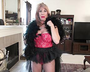 Horny old lady strips naked and gets started