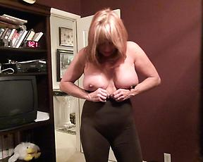Cougar mature puts on some clothes in sexy scenes