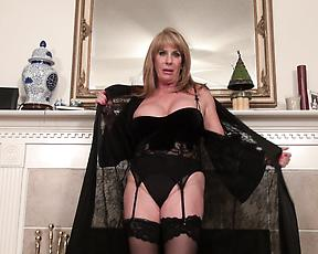 Old woman in black lingerie, sexy nude scenes