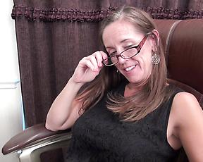 Mature with perfect curves, solo action down the office