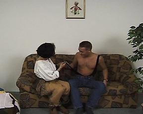 Hot couch fucking between a mature and her young nephew