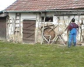 Mature enjoys farm boy fucking her holes big time